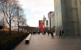 Картинка осень, парк, люди, здания, америка, чикаго, Chicago