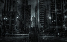 Обои дождь, улица, человек, небоскребы, Город, куртка