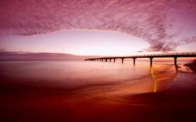 Обои море, небо, облака, закат, огни, вечер, пирс