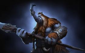 Картинка арт, герой, копье, носорог, дота, Defense of the Ancients, splash artwork