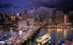 Обои мост, city, улица, дома, вечер, Австралия, порт