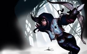 Обои лес, девушка, доспехи, бег, Diablo, арбалет, Demon Hunter