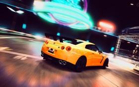 Обои ночь, желтый, неон, поворот, вывески, Nissan, GT-R