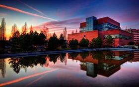 Картинка небо, дом, здание, вечер, вода, зеркало