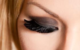 Обои девушка, макро, ресницы, перья, тени, закрытые глаза