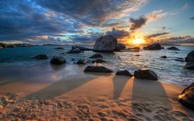 Картинка закат, камни, побережье, Caribbean, British Virgin Islands, Британские Виргинские острова, Карибское море