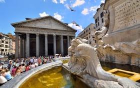 Картинка люди, площадь, Рим, Италия, колонны, фонтан, Пантеон