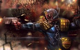 Картинка пистолет, шлем, Dredd, судья дредд