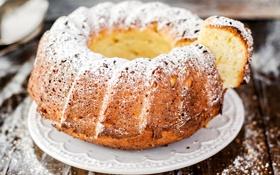 Картинка кекс, сахарная пудра, выпечка