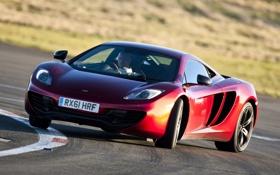 Обои красный, McLaren, занос, Макларен, суперкар, дрифт, передок