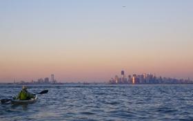 Обои океан, спортсмен, мегаполис, Jercey City and New York City