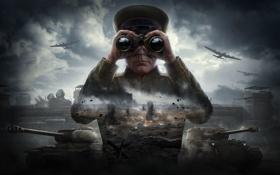 Картинка Бинокль, World of Tanks, Облака, Wargaming Net, Мир Танков, Танки, Авиация