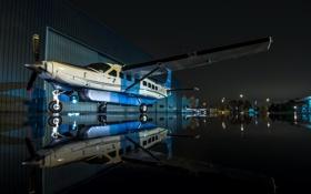 Картинка авиация, ночь, самолёт