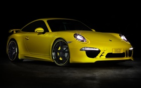 Картинка желтый, тюнинг, купе, 911, полумрак, porsche, порше