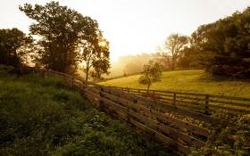 Картинка закат, пейзаж, забор, природа