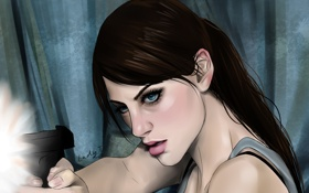 Обои девушка, пистолет, выстрел, Арт, resident evil, Jill Valentine, Джил Валентайн