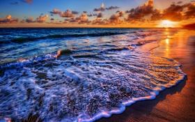 Обои песок, облака, прибой, солнце, море