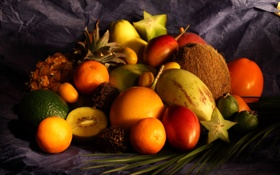 Картинка стол, кокос, ткань, лайм, груша, фрукты, манго