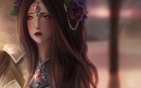 Картинка взгляд, украшения, цветы, лицо, арт, жемчуг, королева