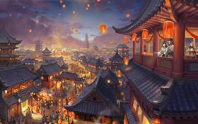 Обои ночь, город, огни, люди, праздник, азия, арт