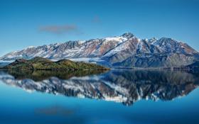 Картинка горы, озеро, отражение, остров