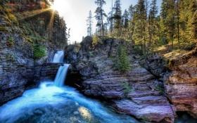 Обои деревья, скалы, водопад