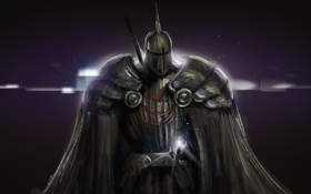 Картинка фон, фантастика, доспехи, арт, шлем, броня, плащ