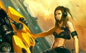 Картинка девушка, мотоцикл, Tham Hoi Mun