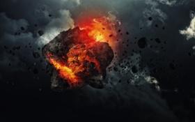 Обои полет, осколки, пламя, астероид