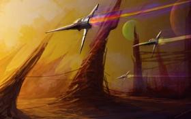 Обои будущее, фантастика, скорость, арт, самолеты, by cloudminedesign, speednight
