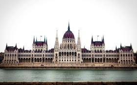 Картинка город, здание, утро, архитектура, парламент, Венгрия, Будапешт
