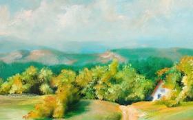 Обои пейзаж, лето, дорога, холмы, зелень, домик