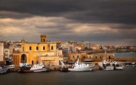 Картинка море, ночь, город, корабли