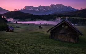 Обои пейзаж, горы, ночь, дома
