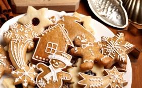 Обои еда, печенье, корица, фигурки, десерт, выпечка, праздники