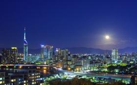 Картинка река, дороги, небо, ночь, огни, луна, Япония