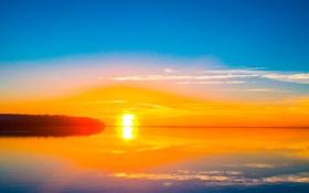 Обои закат, облака, деревья, солнце, небо, озеро