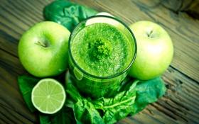 Картинка яблоко, напиток, фрукты, мята, смузи