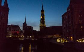 Обои мост, дома, вечер, Германия, церковь, канал, Гамбург