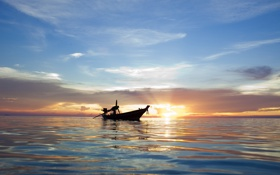 Картинка море, небо, вода, солнце, облака, лучи, свет