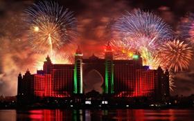 Картинка Ночь, Дубаи, ОАЭ, Фейерверк