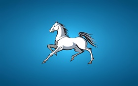 Обои белая, horse, лошадь, синий фон