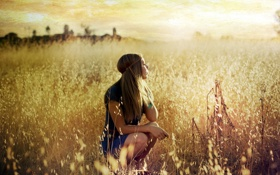 Картинка поле, девушка, закат, настроение
