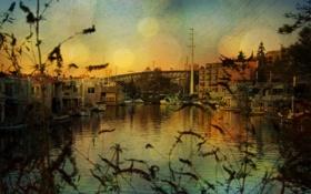 Картинка пейзаж, город, река, фото, фон, обои, здания