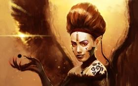 Картинка взгляд, девушка, лицо, рука, крылья, макияж, демон
