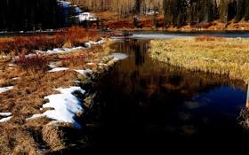 Картинка природа, весна, река, снег
