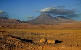 Обои камни, небо, облака, горы, Чили, вулкан