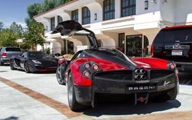 Обои McLaren, дверь, Pagani, MP4-12C, задок, supercars, Huayra