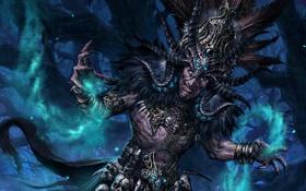 Обои лес, магия, арт, diablo 3, шаман, witch doctor