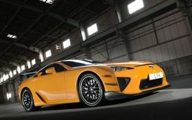 Картинка оранжевый, вид сбоку, лексус, Lexus LFA, sideview